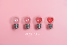 Red Hearts In Light Bulbs. Loa...