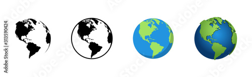 Earth Globe in different designs. World Map in circle. Earth Globes collection. World Map in modern simple styles. Earth Map, isolated on white background. Globes web icon. Vector