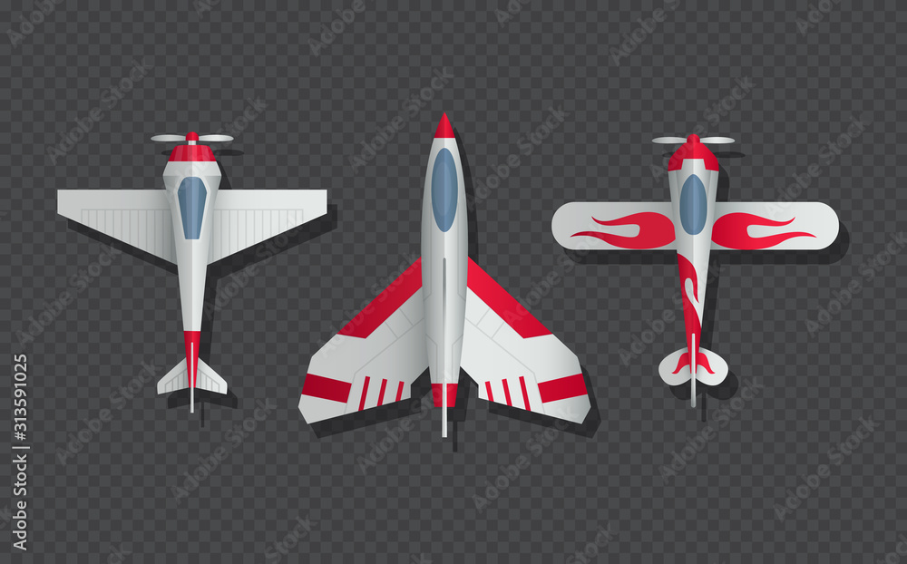Fototapeta Airplanes and military aircraft top view. 3d airliner and fighter vector icons. Airplane top view, air transport model illustration
