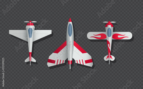 Obraz Airplanes and military aircraft top view. 3d airliner and fighter vector icons. Airplane top view, air transport model illustration - fototapety do salonu