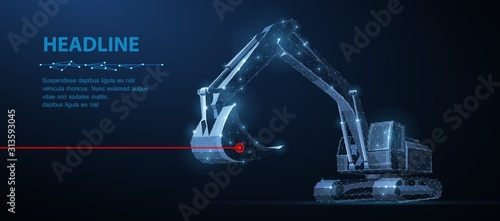 Fototapeta Excavator. Abstract vector 3d excavator isolated on blue background. obraz