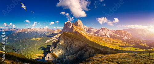 Panorama on Seceda with birds flying over the peaks Wallpaper Mural