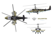 Blueprint Of Camouflage Military Helicopter. Side, Top And Front Views Of Armed Air Vehicle. Industrial 3d Drawing With External Weapon. Isolated War Copter