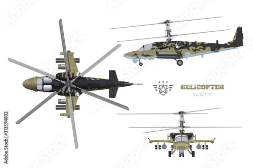 Fotomural Blueprint of camouflage military helicopter
