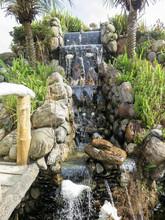 Small Waterfall At A Buddhist ...