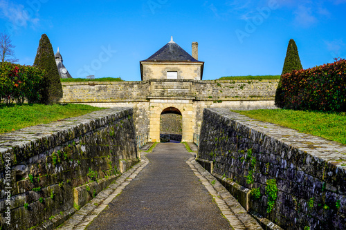 royal medieval door entrance in citadel Blaye in france Fototapet