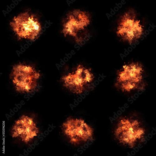 3d explosion rendered assets on black background Fototapete
