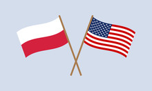 Poland And USA Crossed Flags On Stick. Polish And American National Symbols. Vector Illustration.