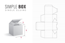 Simple Packaging Box Die Cut Cube Template With 3D Preview - Black Editable Blueprint Layout With Cutting And Scoring Lines On Striped Background - Draw Graphic Design