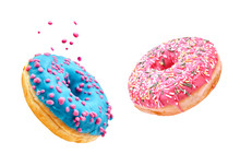 Fresh Sweet Donuts In Motion With Multicolored Fruit Glaze And Sprinkles Decorated. Fast Sweet Food Concept, Bakery Ad Design Elements With Glazed Frosted Falling Doughnuts Isolated, White Background
