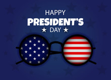 President's Day USA Banner Holiday Part Of The Arm Of The Statue Of Liberty. President Day Poster With Red And Blue Design. American Glasses