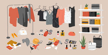 Set Of Wardrobe Stuff. Closet Wardrobe Furniture Inside. Various Bag, Shoes, Cosmetics And Trendy Clother. Interior Things In Scandinavian Design Style. Hand Drawn Isolated Elements