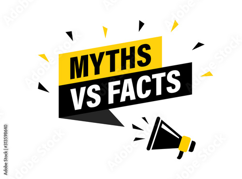 Stampa su Tela Male hand holding megaphone with Myths vs facts speech bubble