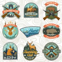 Set Of Hunting Club Badge. Vec...