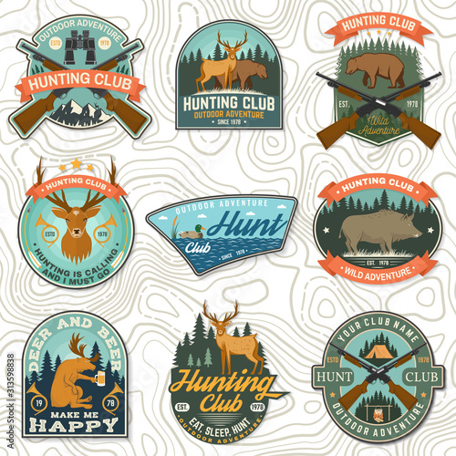 Set of Hunting club badge. Vector Concept for shirt, print, stamp. Vintage typography design with hunting gun, boar, hunter, bear, deer, duck and forest. Outdoor adventure hunt club emblem Wall mural