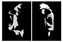 Face Silhouette Drawing Of An Emotional Screaming Guy