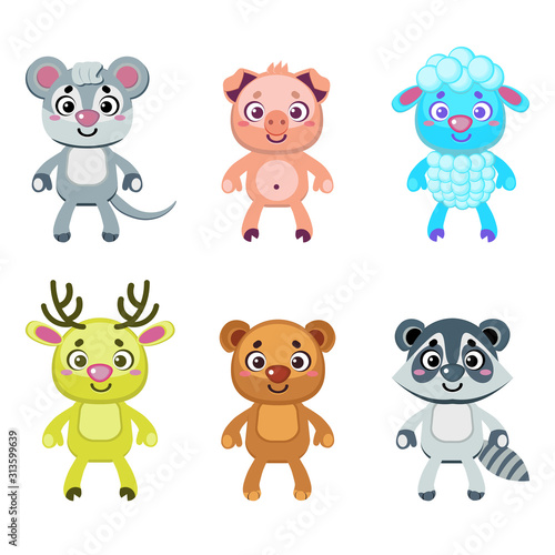Set of funny cartoon animals #313599639