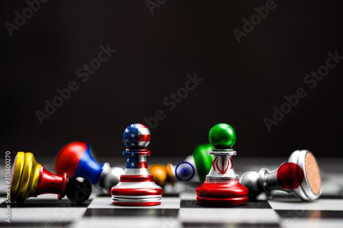 Photo Print screen on pawn chess of USA flag and Iran flag among multi flag countries on black background