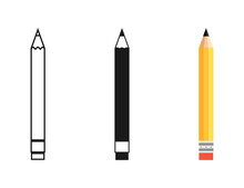Pencil In Different Designs. Pencil With Rubber Eraser, Isolated On White Background. Pencil With Rubber Eraser In Modern Simple Flat Design. Pencils Vector Icons. Vector