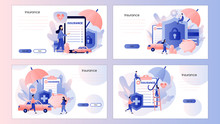 Insurance Concept. Property And Health Insurance. Screen Template For Mobile Smart Phone, Landing Page, Template, Ui, Web, Mobile App, Poster, Banner, Flyer. Modern Flat Cartoon Style. Vector