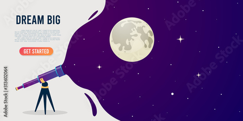 Fototapeta Look through the telescope view of night stars sky with different colors flat vector illustration of outer space background. Banner design obraz