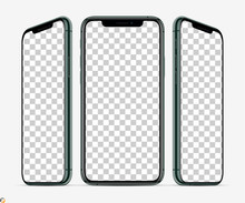3D Smartphone Screen Mockup. Smartphone  Green Color In Three Planes Vith Blank Screen For Your Design. Vector Illustration EPS10