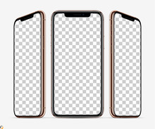 3D Smartphone Screen Mockup. Smartphone  Gold Color In Three Planes Vith Blank Screen For Your Design. Vector Illustration EPS10