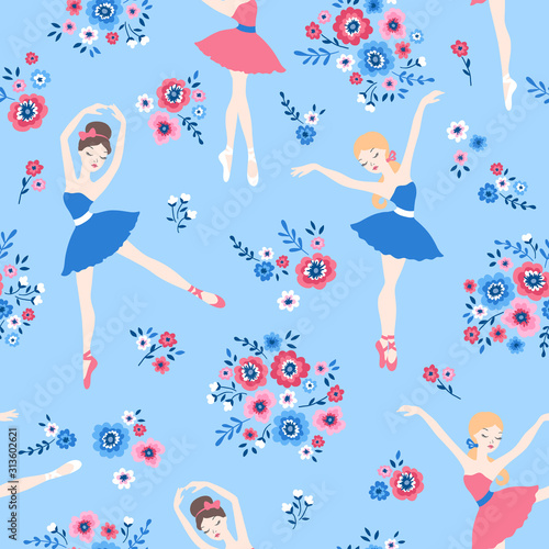 Tablou Canvas Ballet dance cartoon seamless pattern with ballerinas in tutu dresses and flower