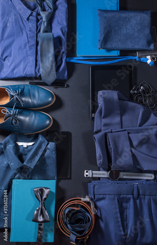 Valokuvatapetti Order in set men clothes and accessories. Classic