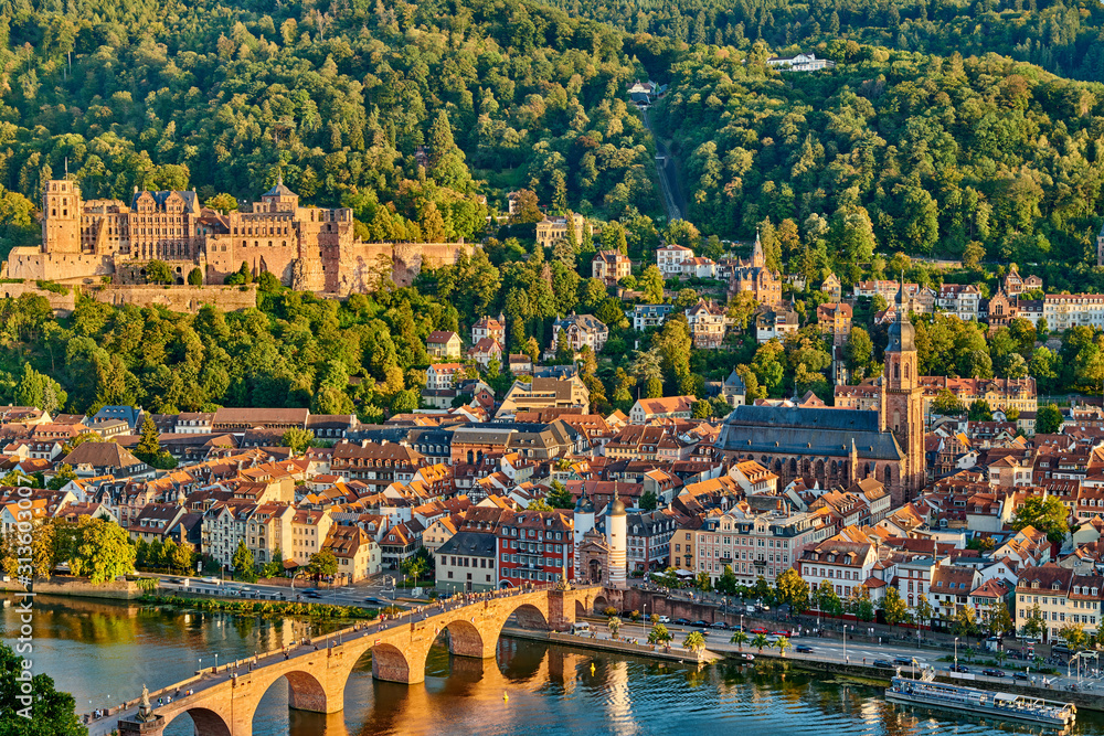 Fototapeta Heidelberg town on Neckar river, Germany