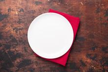 Empty Ceramic White Plate And ...