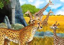 Cartoon Scene With Giraffes An...