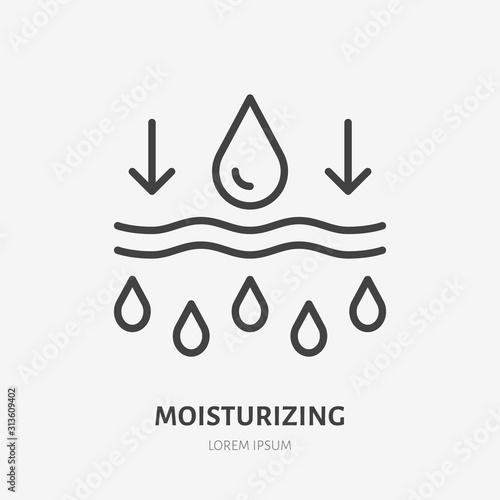 Moisture line icon, vector pictogram of moisturizing cream Canvas Print