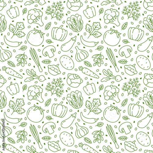 Fototapeta Food background, vegetables seamless pattern. Healthy eating - tomato, garlic, carrot, pepper, broccoli, cucumber line icons. Vegetarian, farm grocery store vector illustration, green white color obraz