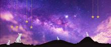 Panorama Blue Night Sky Milky ...