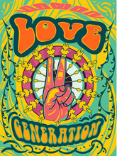 Bright Psychedelic Love Generation Cover Design With Hand Giving The Peace Sign And Colorful Text On Green And Yellow Abstract Pattern, Vector Illustration