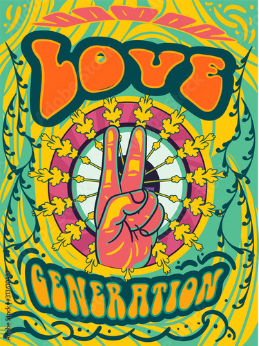 Photo Bright psychedelic Love Generation cover design with hand giving the peace sign