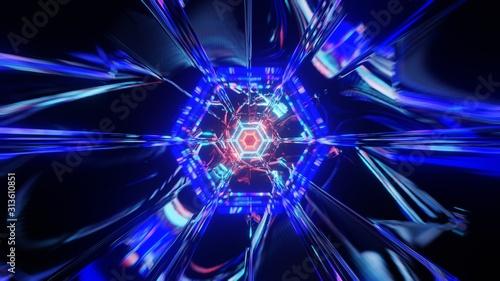Abstrakcjonistyczny kolorowy neonowy tunel VJ. Przyszłość, szybkość, duże tło danych. Renderowanie 3D.