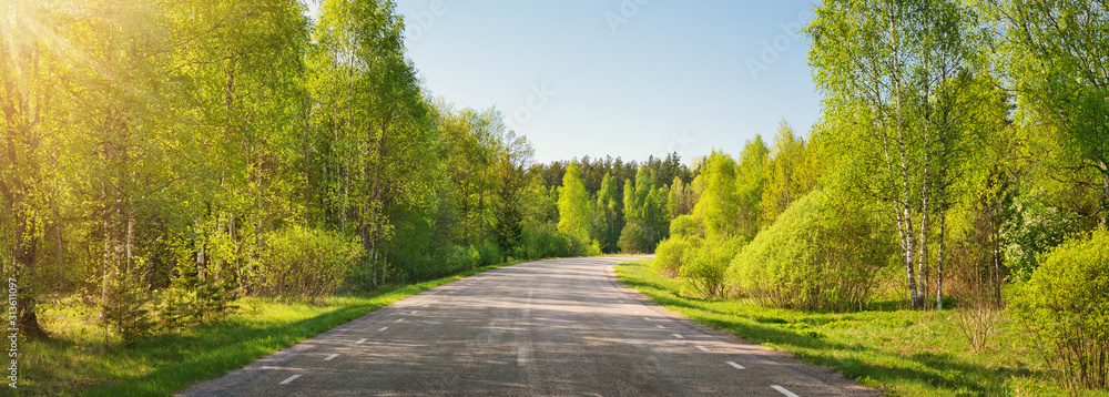 Fototapeta asphalt road panorama in countryside on sunny summer day