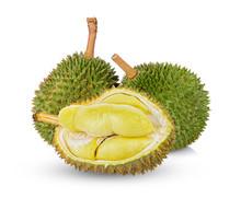 Durian Fruit Isolated On White...