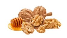 Walnut Nuts And Honey Dip Isolated On White Background