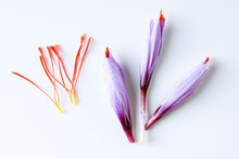 Fresh Saffron Flower And Dried...
