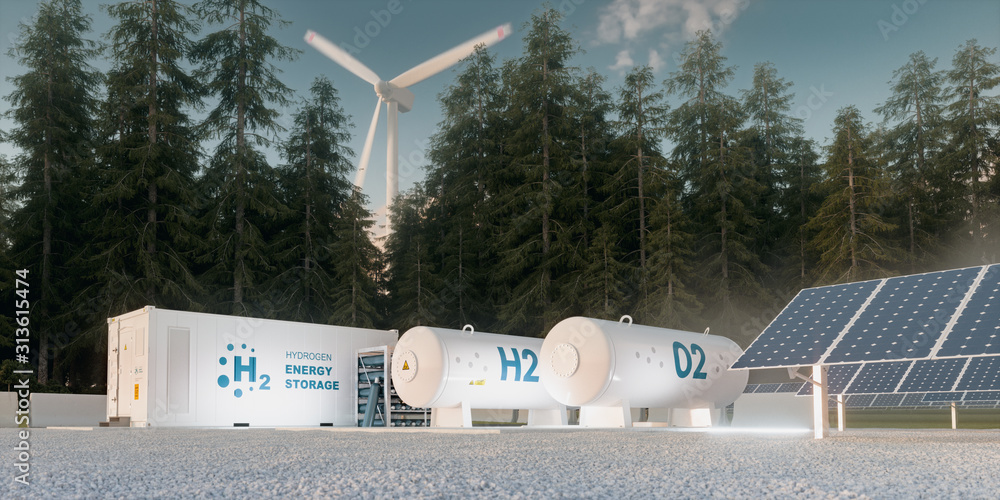 Fototapeta Concept of hydrogen energy storage from renewable sources - wind turbines and photovoltaics. 3d rendering
