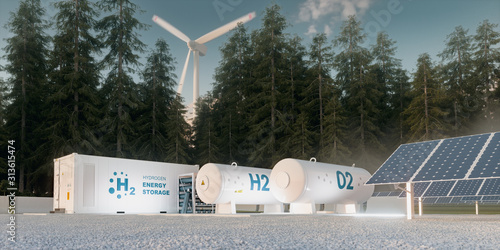 Obraz Concept of hydrogen energy storage from renewable sources - wind turbines and photovoltaics. 3d rendering - fototapety do salonu