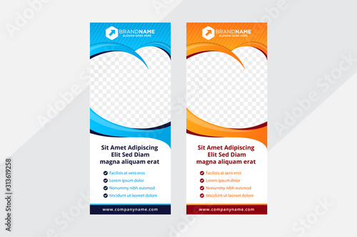 Dental care, dentist and tooth vertical banner and tooth for photo. the graphics design in blue and orange color background. Dental treatment and hygiene concept. family dental clinic template vector.