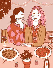 Illustration Of Women Eating S...
