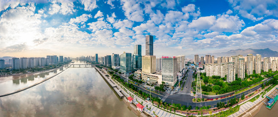 Urban scenery on both sides of minjiang river, fuzhou city, fujian province, China