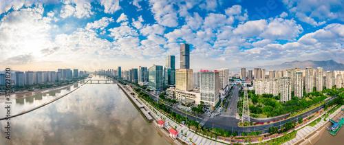 Urban scenery on both sides of minjiang river, fuzhou city, fujian province, China #313622820