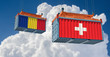Freight container with Romania and Switzerland flag. 3D Rendering