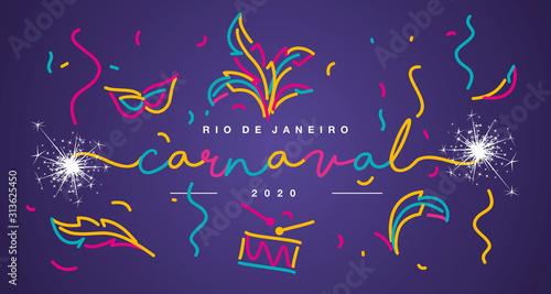Carnival 2020 Rio de Janeiro Portuguese language handwritten typography sparkle Wallpaper Mural